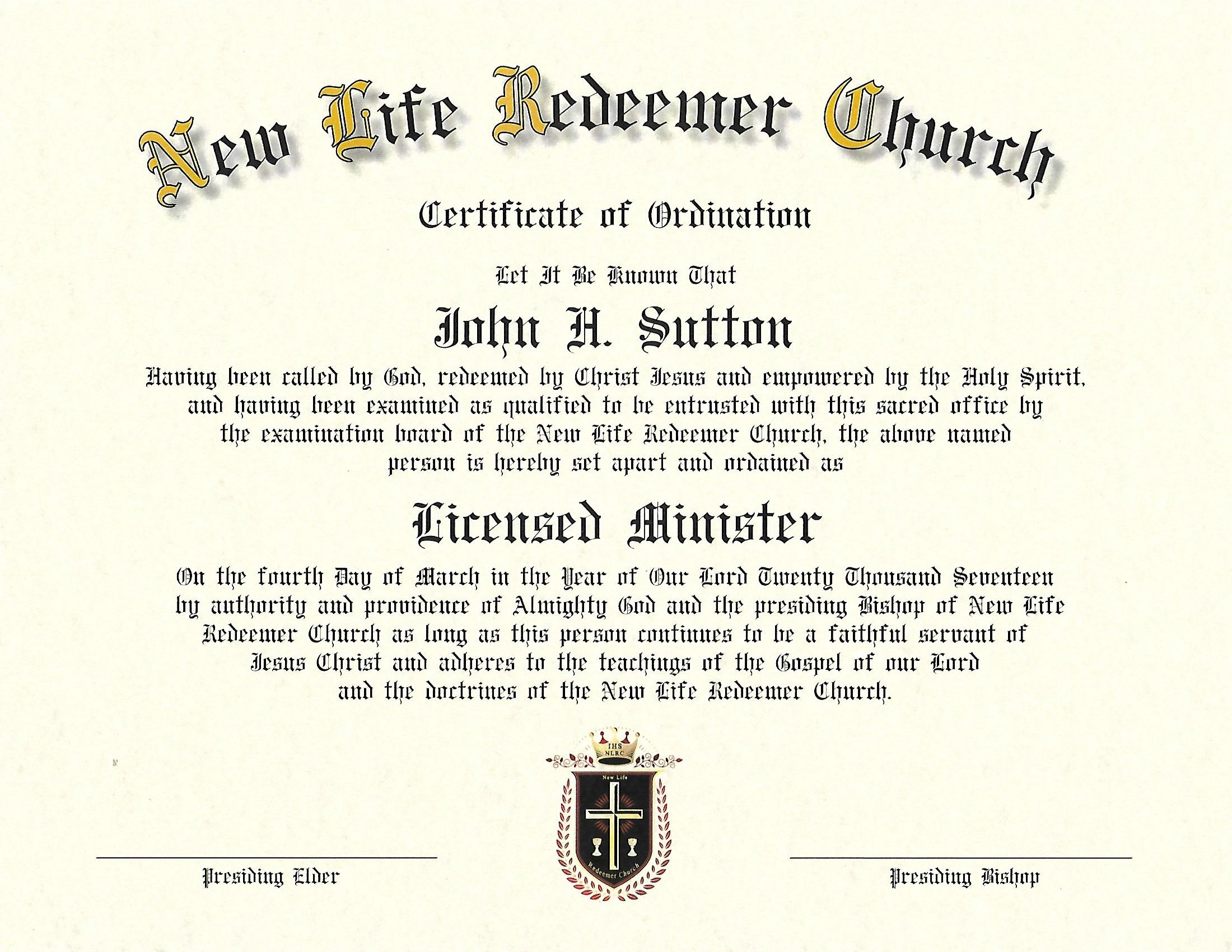 Online Ordination Credentials Sample